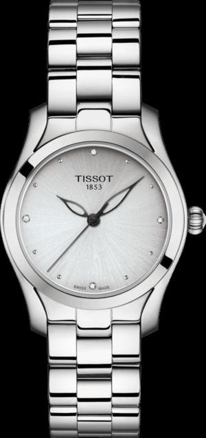 Damenuhr Tissot T-Wave mit Diamanten, silberfarbenem Zifferblatt und Edelstahlarmband