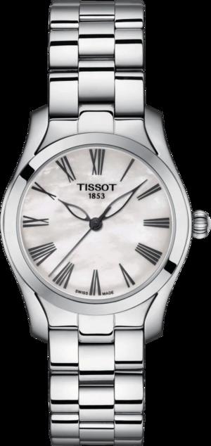 Damenuhr Tissot T-Wave mit perlmuttfarbenem Zifferblatt und Edelstahlarmband