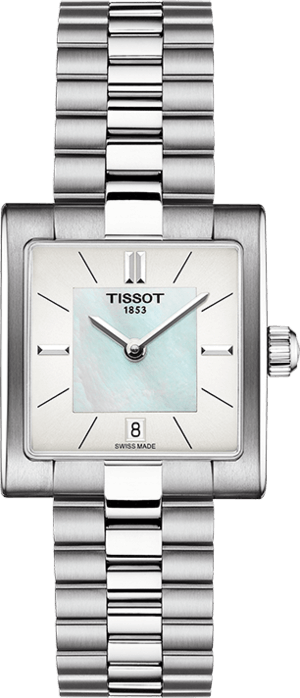 Damenuhr Tissot T02 mit weißem Zifferblatt und Edelstahlarmband
