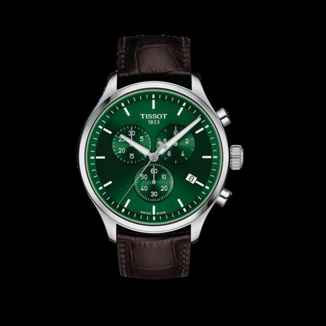 Herrenuhr Tissot Chrono XL Classic mit grünem Zifferblatt und Rindsleder-Armband bei Brogle
