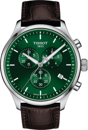 Herrenuhr Tissot Chrono XL Classic mit grünem Zifferblatt und Rindsleder-Armband