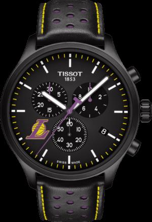 Herrenuhr Tissot Chrono XL NBA Los Angeles Lakers mit schwarzem Zifferblatt und Kalbsleder-Armband