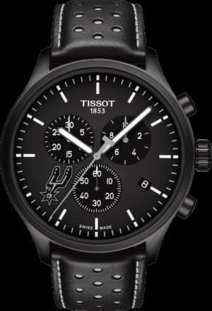 Herrenuhr Tissot Chrono XL NBA San Antonio Spurs mit schwarzem Zifferblatt und Kalbsleder-Armband