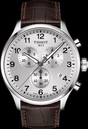 Herrenuhr Tissot Chrono XL Quartz mit silberfarbenem Zifferblatt und Armband aus Kalbsleder mit Krokodilprägung