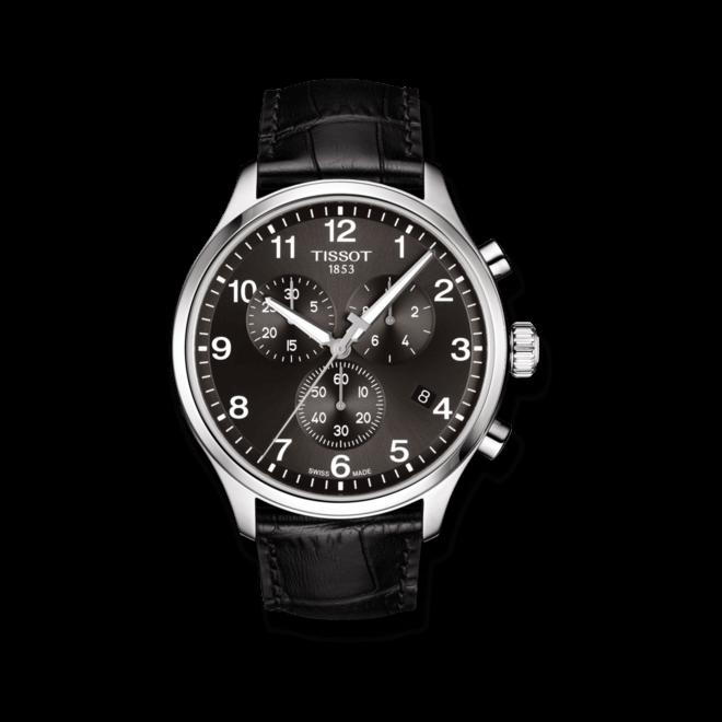 Herrenuhr Tissot Chrono XL Quartz mit schwarzem Zifferblatt und Armband aus Kalbsleder mit Krokodilprägung bei Brogle