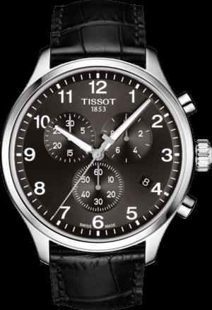 Herrenuhr Tissot Chrono XL Quartz mit schwarzem Zifferblatt und Armband aus Kalbsleder mit Krokodilprägung