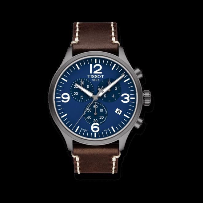 Herrenuhr Tissot Chrono XL Quartz mit blauem Zifferblatt und Kalbsleder-Armband bei Brogle