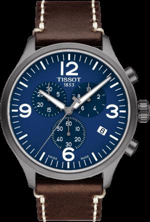 Herrenuhr Tissot Chrono XL Quartz mit blauem Zifferblatt und Kalbsleder-Armband