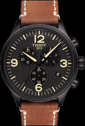 Herrenuhr Tissot Chrono XL Quartz mit schwarzem Zifferblatt und Kalbsleder-Armband