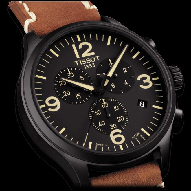 Herrenuhr Tissot Chrono XL Quartz mit schwarzem Zifferblatt und Kalbsleder-Armband bei Brogle