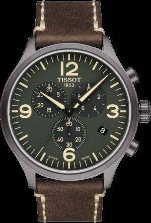 Herrenuhr Tissot Chrono XL Quartz mit grünem Zifferblatt und Kalbsleder-Armband