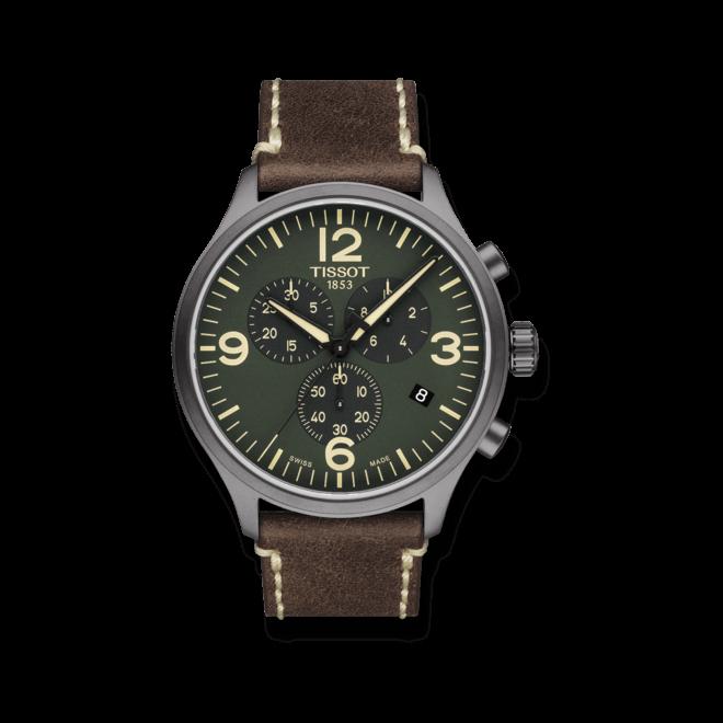 Herrenuhr Tissot Chrono XL Quartz mit grünem Zifferblatt und Kalbsleder-Armband bei Brogle