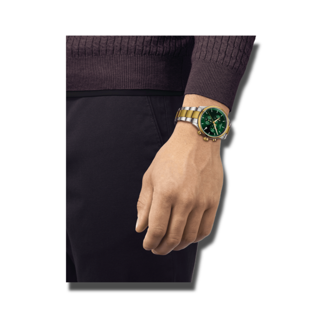 Herrenuhr Tissot Chrono XL mit grünem Zifferblatt und Edelstahlarmband bei Brogle