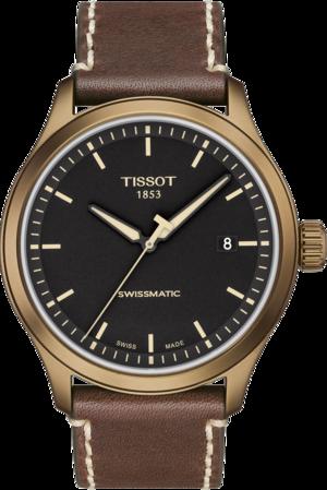 Herrenuhr Tissot Gent XL Khaki mit schwarzem Zifferblatt und Kalbsleder-Armband