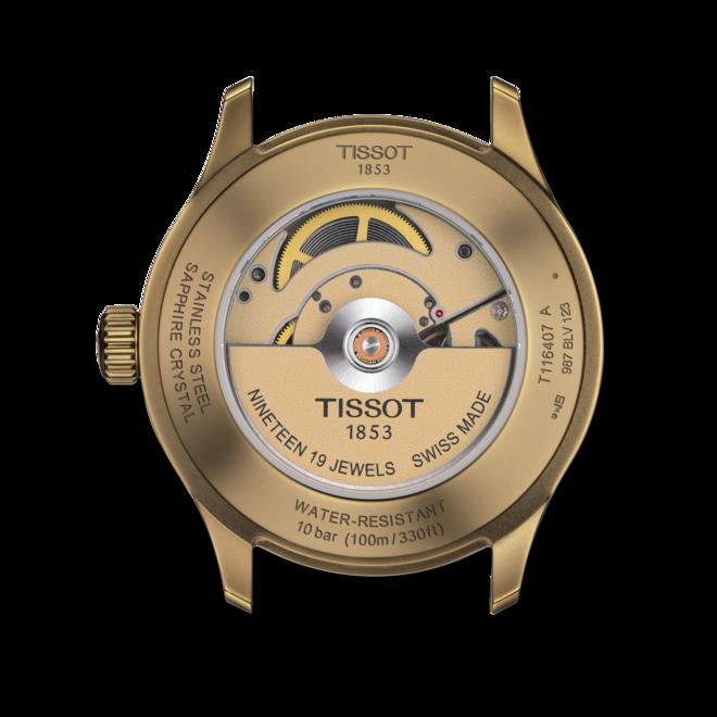 Herrenuhr Tissot Gent XL Khaki mit schwarzem Zifferblatt und Kalbsleder-Armband bei Brogle