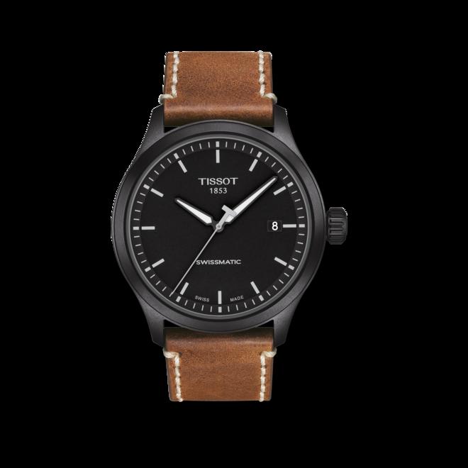 Herrenuhr Tissot Gent XL mit schwarzem Zifferblatt und Kalbsleder-Armband bei Brogle