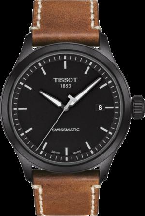 Herrenuhr Tissot Gent XL mit schwarzem Zifferblatt und Kalbsleder-Armband