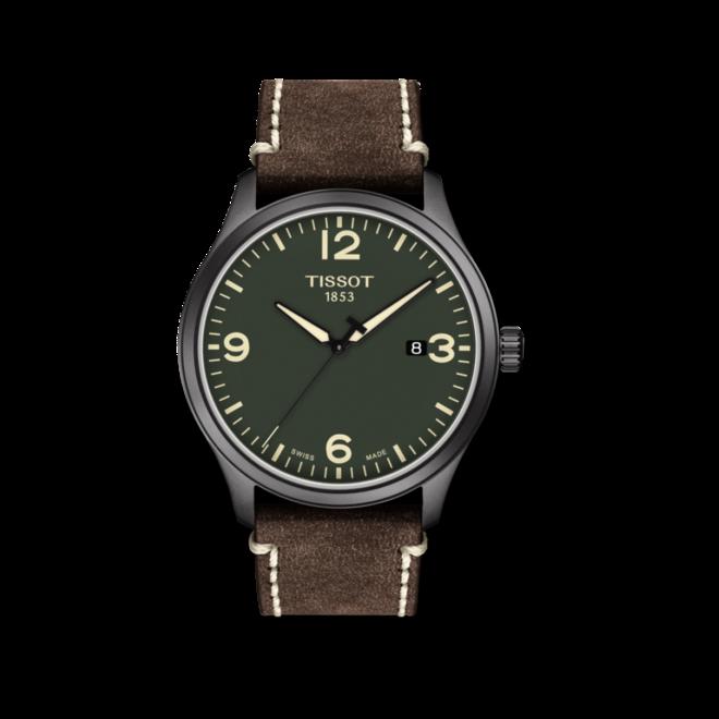 Herrenuhr Tissot Gent XL mit grünem Zifferblatt und Rindsleder-Armband bei Brogle