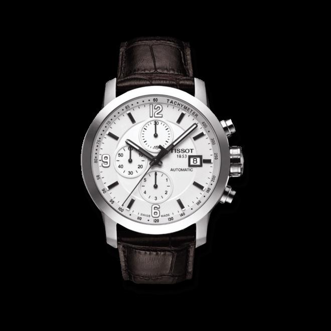 Herrenuhr Tissot PRC 200 Automatic Chronograph Gent mit weißem Zifferblatt und Kalbsleder-Armband bei Brogle
