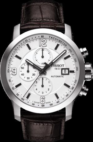 Herrenuhr Tissot PRC 200 Automatic Chronograph Gent mit weißem Zifferblatt und Kalbsleder-Armband
