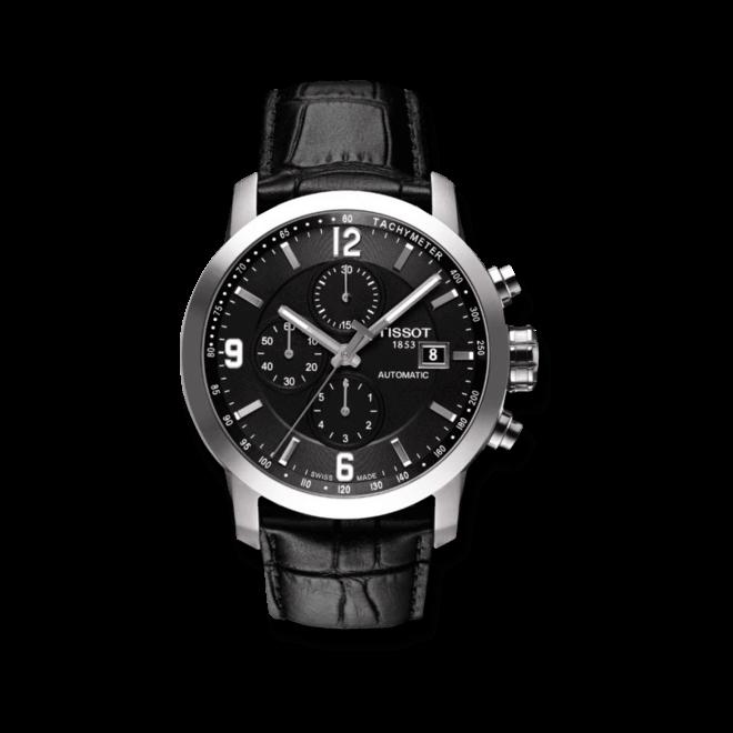 Herrenuhr Tissot PRC 200 Automatic Chronograph Gent mit schwarzem Zifferblatt und Kalbsleder-Armband