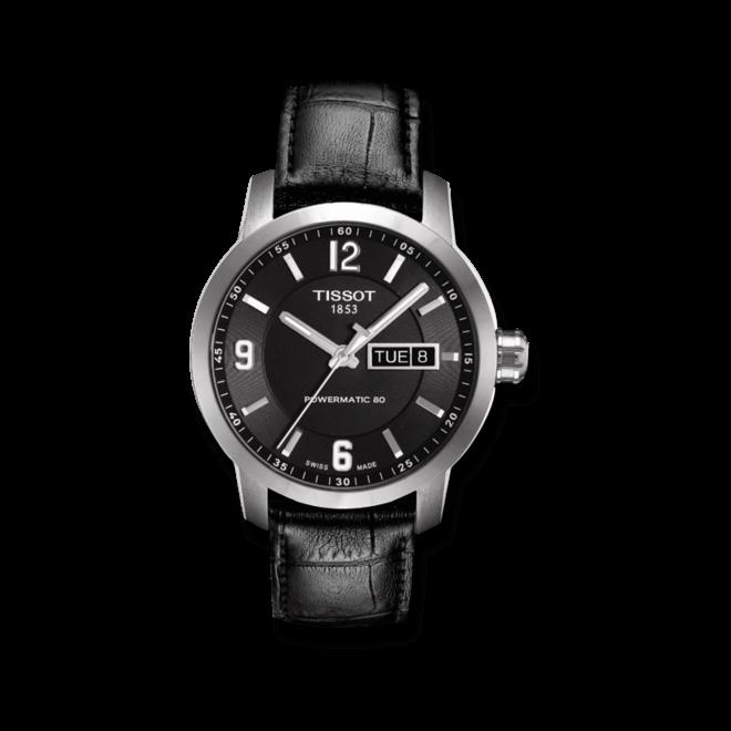 Herrenuhr Tissot PRC 200 Automatic Gent mit schwarzem Zifferblatt und Kalbsleder-Armband
