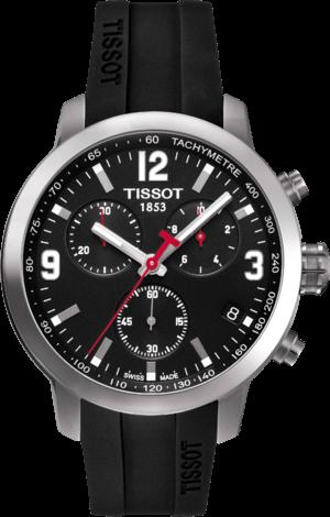 Herrenuhr Tissot PRC 200 Quartz Chronograph Gent mit schwarzem Zifferblatt und Kautschukarmband