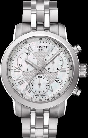 Damenuhr Tissot PRC 200 Quartz Chronograph Lady mit weißem Zifferblatt und Edelstahlarmband