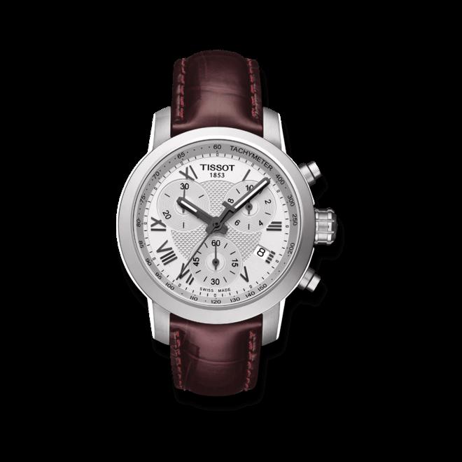 Damenuhr Tissot PRC 200 Quartz Chronograph Lady mit silberfarbenem Zifferblatt und Kalbsleder-Armband