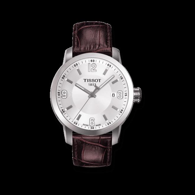 Herrenuhr Tissot PRC 200 Quartz Gent mit weißem Zifferblatt und Armband aus Kalbsleder mit Krokodilprägung
