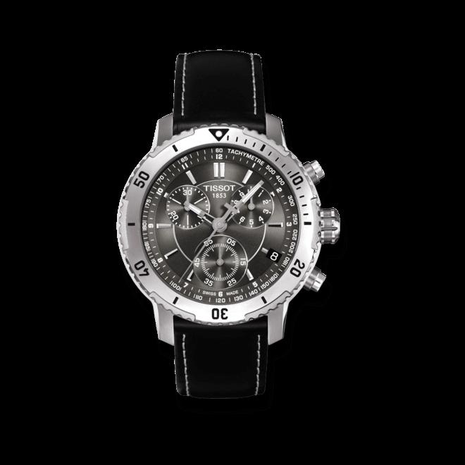 Herrenuhr Tissot PRS 200 mit schwarzem Zifferblatt und Kalbsleder-Armband