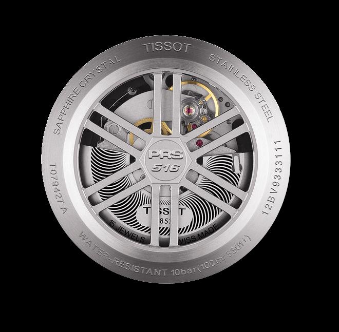 Herrenuhr Tissot PRS 516 Automatic Chronograph mit schwarzem Zifferblatt und Kautschukarmband