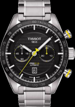 Herrenuhr Tissot PRS 516 Automatic Chronograph mit schwarzem Zifferblatt und Edelstahlarmband