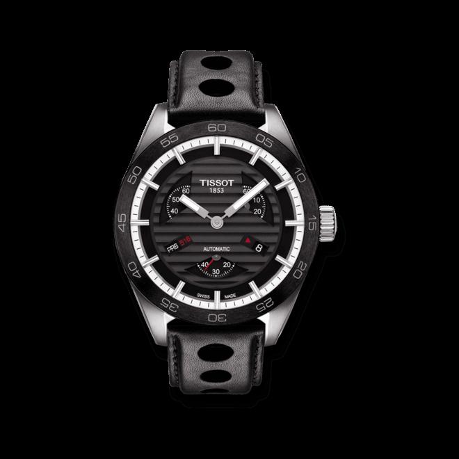 Herrenuhr Tissot PRS 516 Automatic Small Second mit schwarzem Zifferblatt und Kalbsleder-Armband