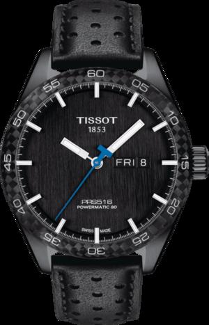 Herrenuhr Tissot PRS 516 Powermatic 80 mit schwarzem Zifferblatt und Rindsleder-Armband