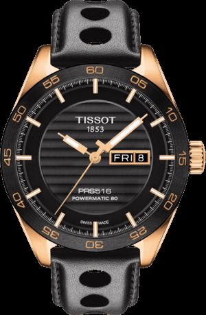 Herrenuhr Tissot PRS 516 Powermatic Gent mit schwarzem Zifferblatt und Kalbsleder-Armband