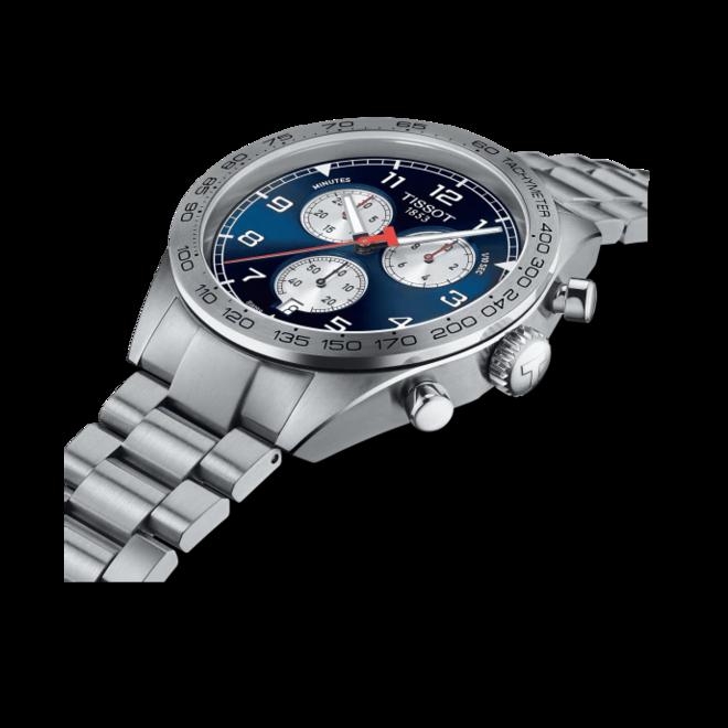 Herrenuhr Tissot PRS 516 Quartz Chronograph mit blauem Zifferblatt und Edelstahlarmband bei Brogle