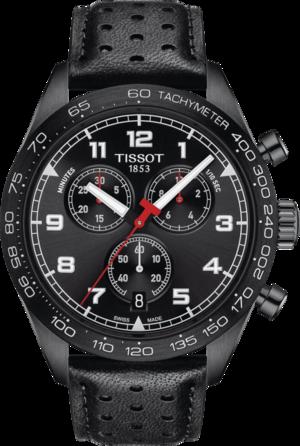 Herrenuhr Tissot PRS 516 Quartz Chronograph mit schwarzem Zifferblatt und Rindsleder-Armband