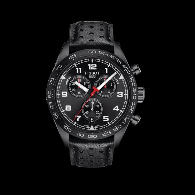Herrenuhr Tissot PRS 516 Quartz Chronograph mit schwarzem Zifferblatt und Rindsleder-Armband bei Brogle