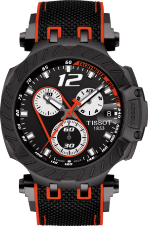 Herrenuhr Tissot T-Sport Quarz 43mm mit schwarzem Zifferblatt und Kautschukarmband
