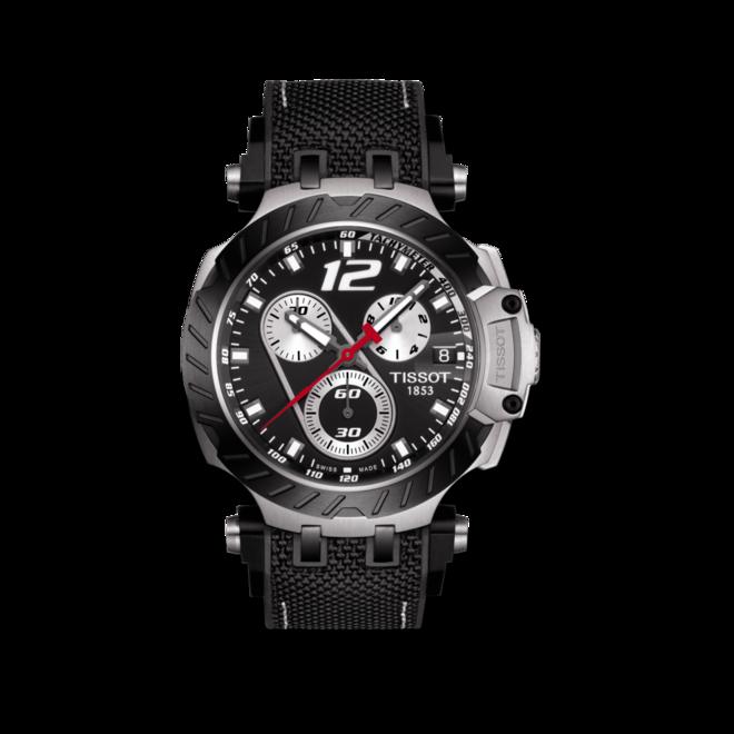 Herrenuhr Tissot T-Sport Quarz Chronograph 43mm mit schwarzem Zifferblatt und Polyurethanarmband bei Brogle