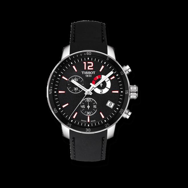 Herrenuhr Tissot Quickster Chrono Football mit schwarzem Zifferblatt und Kalbsleder-Armband