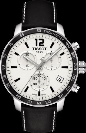 Herrenuhr Tissot Quickster Chronograph mit silberfarbenem Zifferblatt und Kalbsleder-Armband