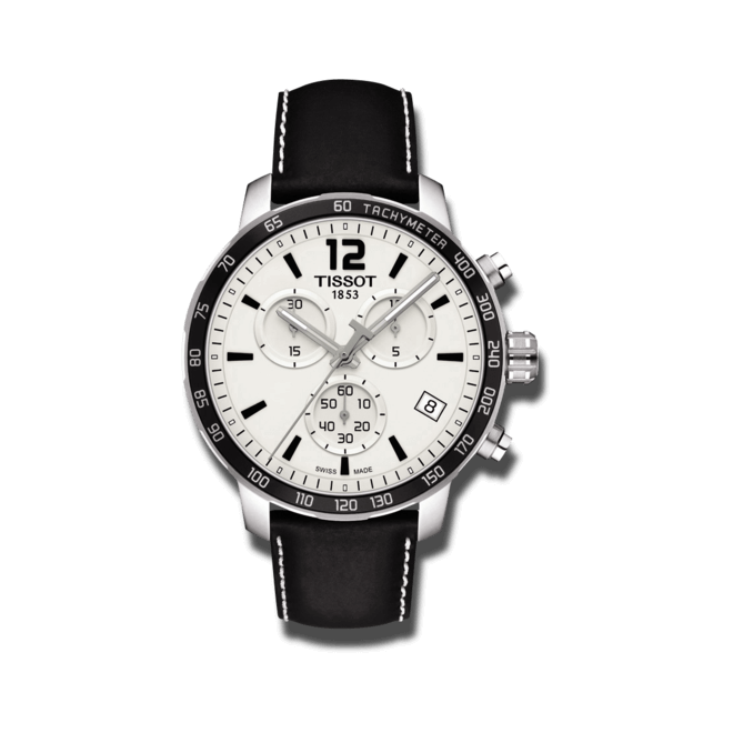 Herrenuhr Tissot Quickster Chronograph mit silberfarbenem Zifferblatt und Kalbsleder-Armband bei Brogle