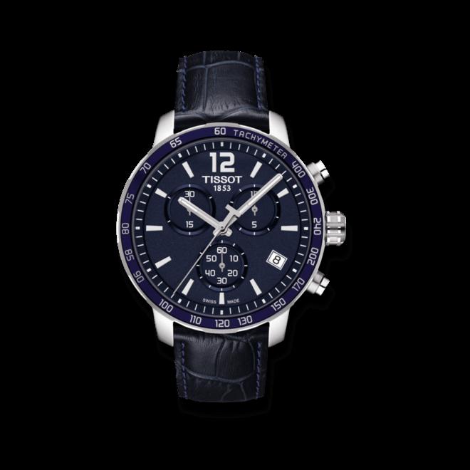 Herrenuhr Tissot Quickster Chronograph mit blauem Zifferblatt und Kalbsleder-Armband