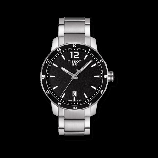 Armbanduhr Tissot Quickster mit schwarzem Zifferblatt und Edelstahlarmband