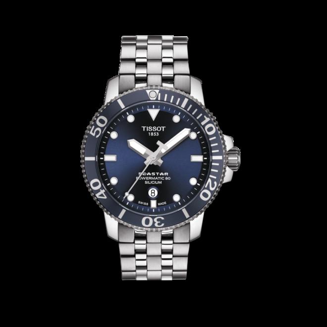 Herrenuhr Tissot Seastar 1000 Automatic Silicium mit blauem Zifferblatt und Edelstahlarmband bei Brogle