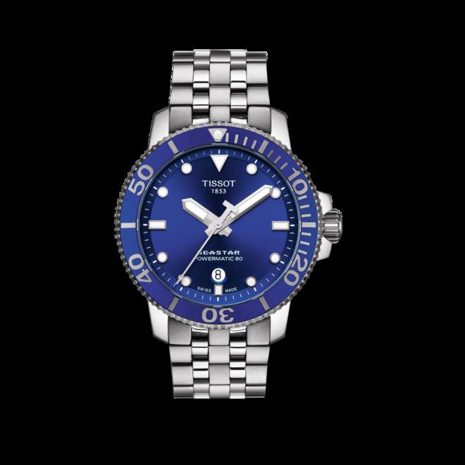 Herrenuhr Tissot Seastar 1000 Automatic mit blauem Zifferblatt und Edelstahlarmband bei Brogle