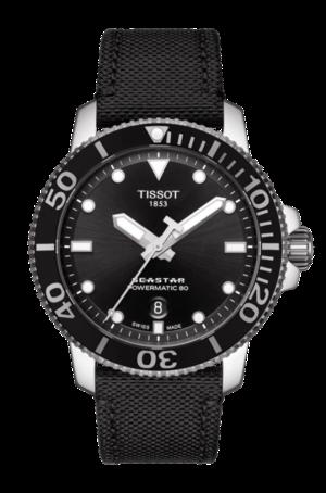Herrenuhr Tissot Seastar 1000 Automatic mit schwarzem Zifferblatt und Textilarmband