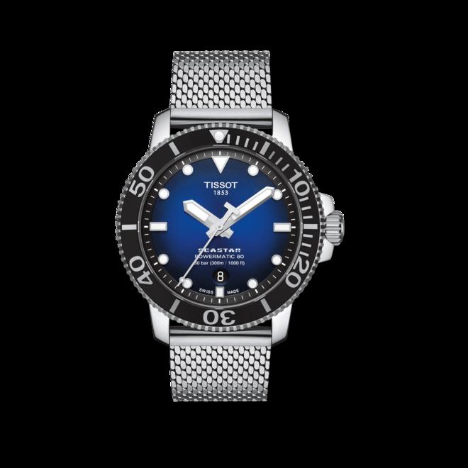 Herrenuhr Tissot Seastar 1000 Powermatic 80 mit blauem Zifferblatt und Edelstahlarmband bei Brogle